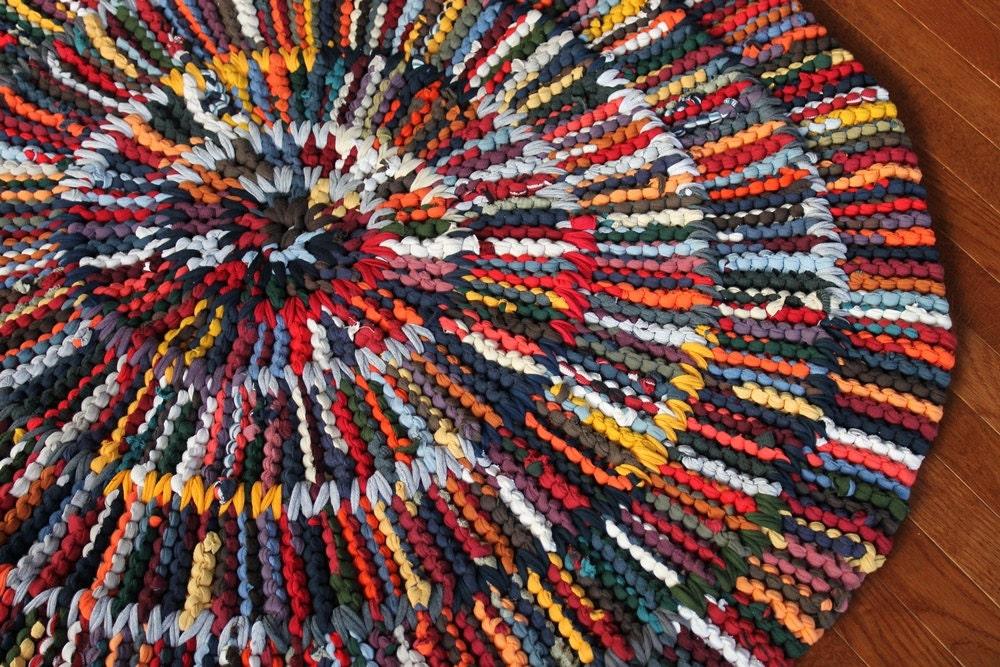 Round Rag Rug Modern Nursery Orange Gray Teal By
