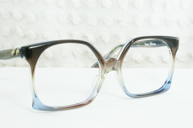 80s oversize glasses 1970 s eyeglasses square gray by