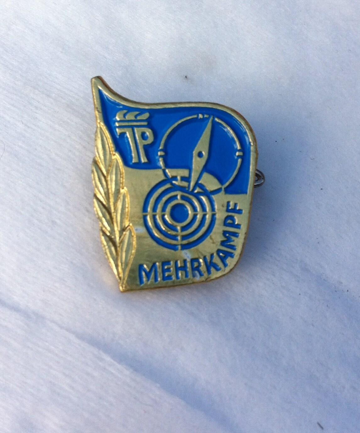 Vintage brooch pin badge blue enamel mehrkampf German antique retro unisex