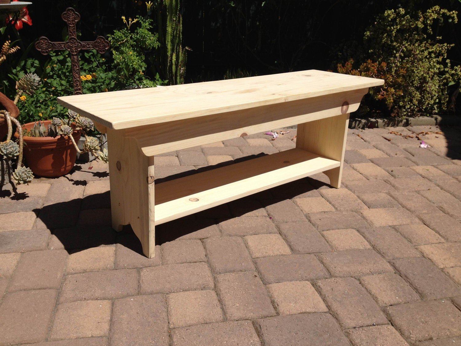Unfinished 4 Foot Wooden Bench With Shelf By Squarenailfurniture