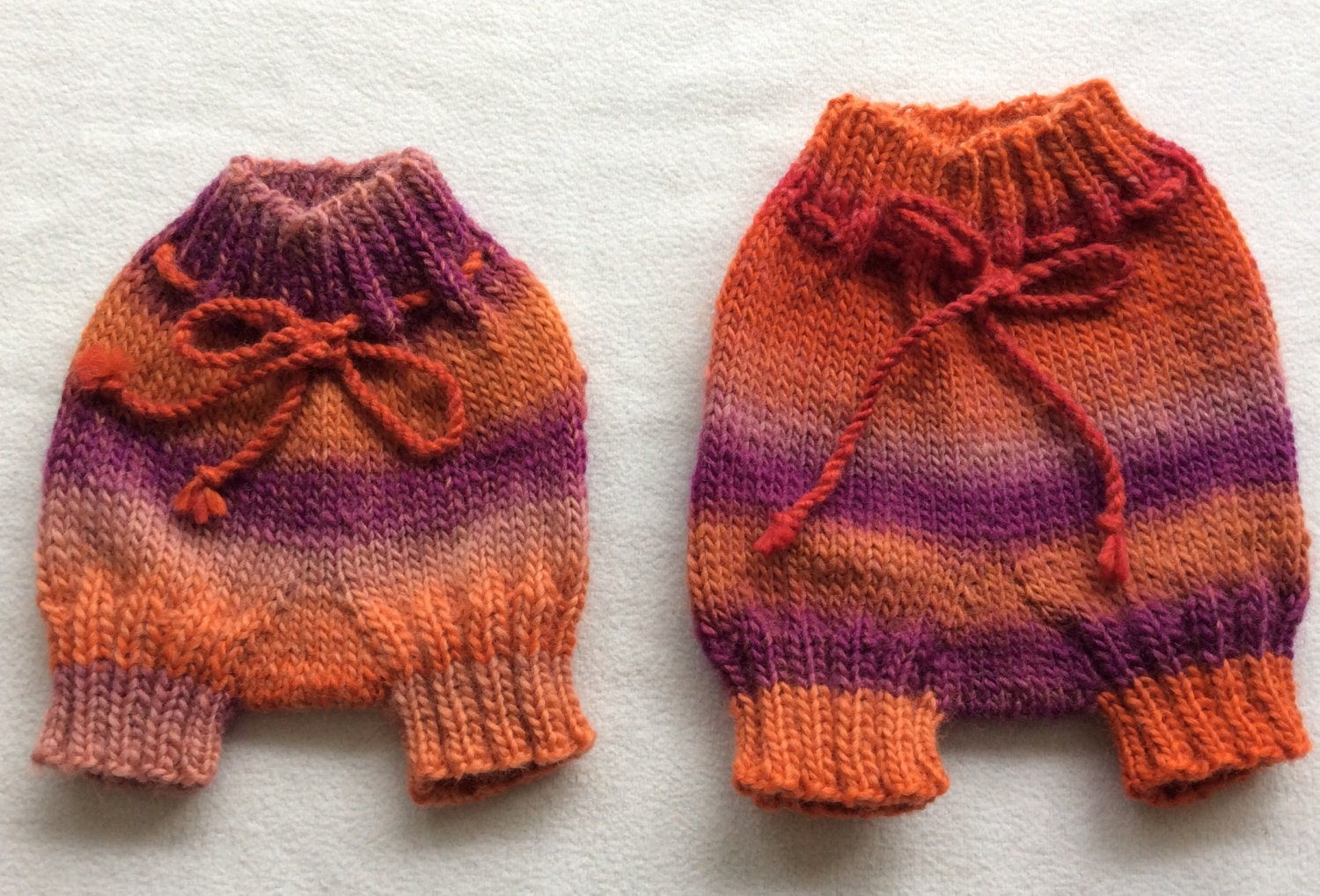 Sunrise (Pink  Orange) Hand Knitted Wool Shortie Soaker Newborn Cloth DiaperTerry Nappy Covers
