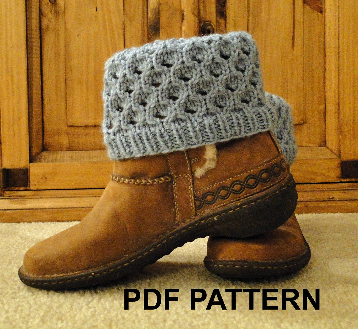 Knitted Boot Cuff Pattern : PDF Pattern Knit Boot Cuff Leg Warmers for by karensstitchnitch