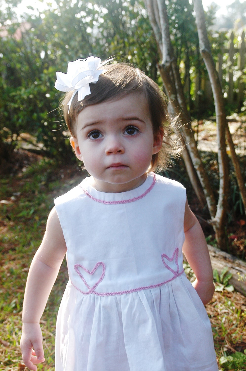 White Waterfall Dress with Pink Hearts by Papoose Clothing - papooseclothing