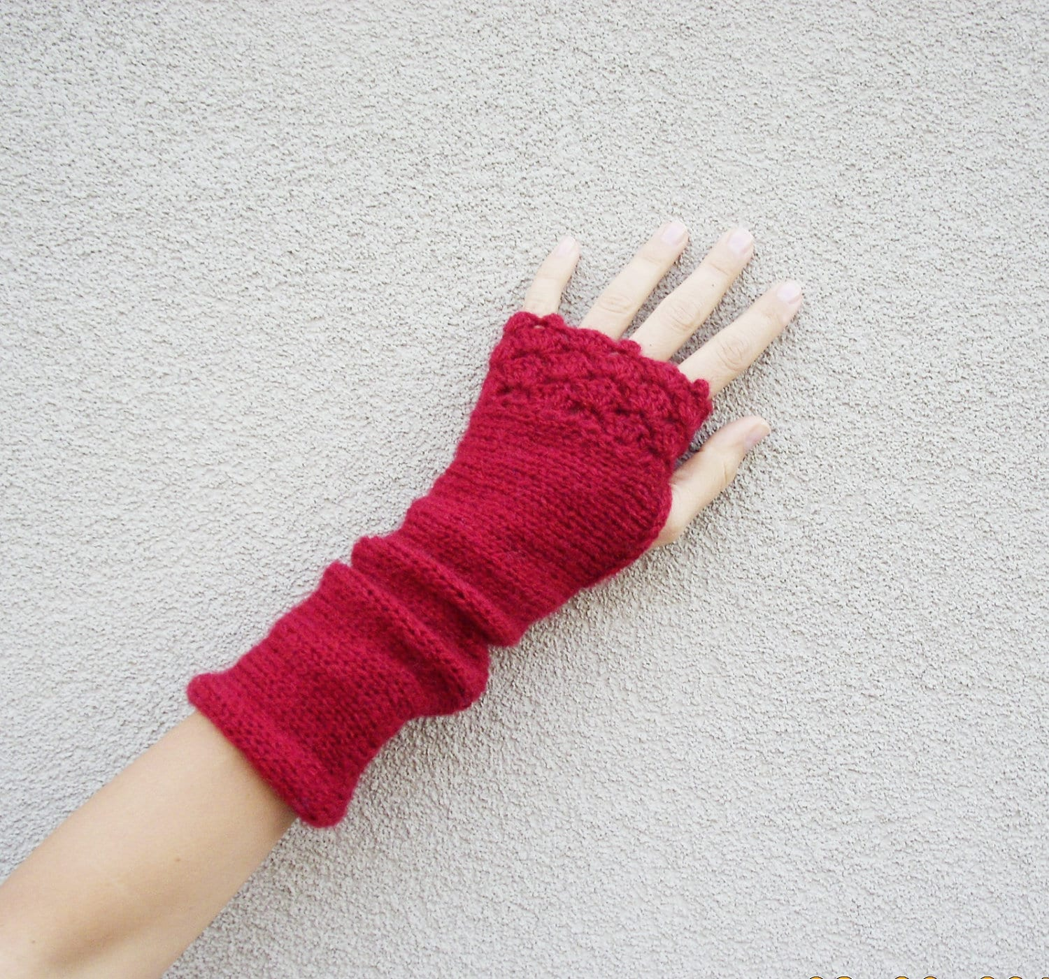 Knitted mittens in red, warm, knitted, crochet