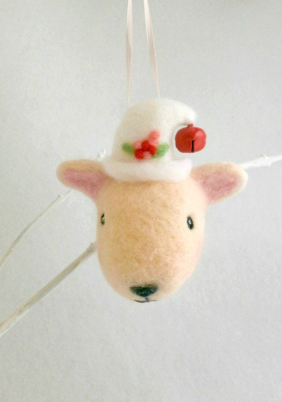 Needle Felted Christmas Sheep Ornament lamb decoration stocking holiday pink wool - jessicakat