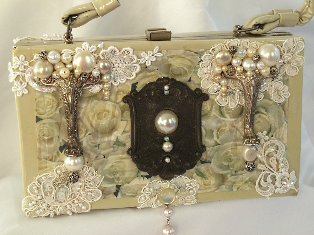 Bridal Purse, Steampunk, Vintage purse, couture purse, beaded silver, white box purse with applique and vintage key hole, LAYAWAY PLANS