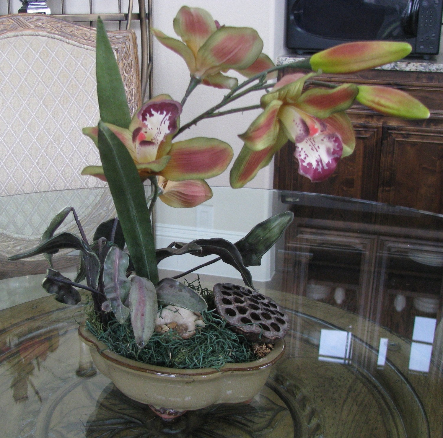 Sale off small silk orchid centerpiece by handcraftsandmore