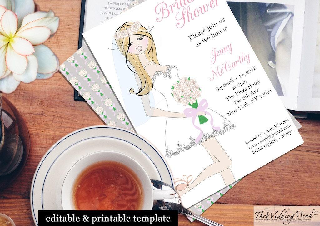 Printable Bridal Shower invitation Bridal Shower DIY Editable Shower Invite Personalised Bridal Shower Template Instant Download PDF BS01