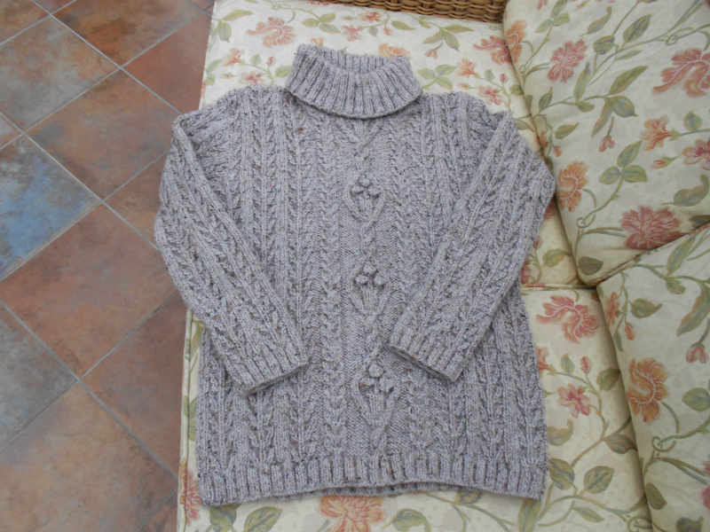 Hand Knit Aran Ladies Pale Hazy Pink Roll  Polo Neck Sweater  Jumper  Pullover