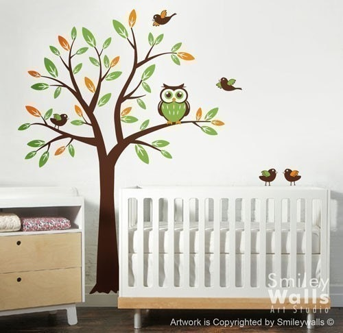 owl decal wall decal kids wall decal tree owl and birds children