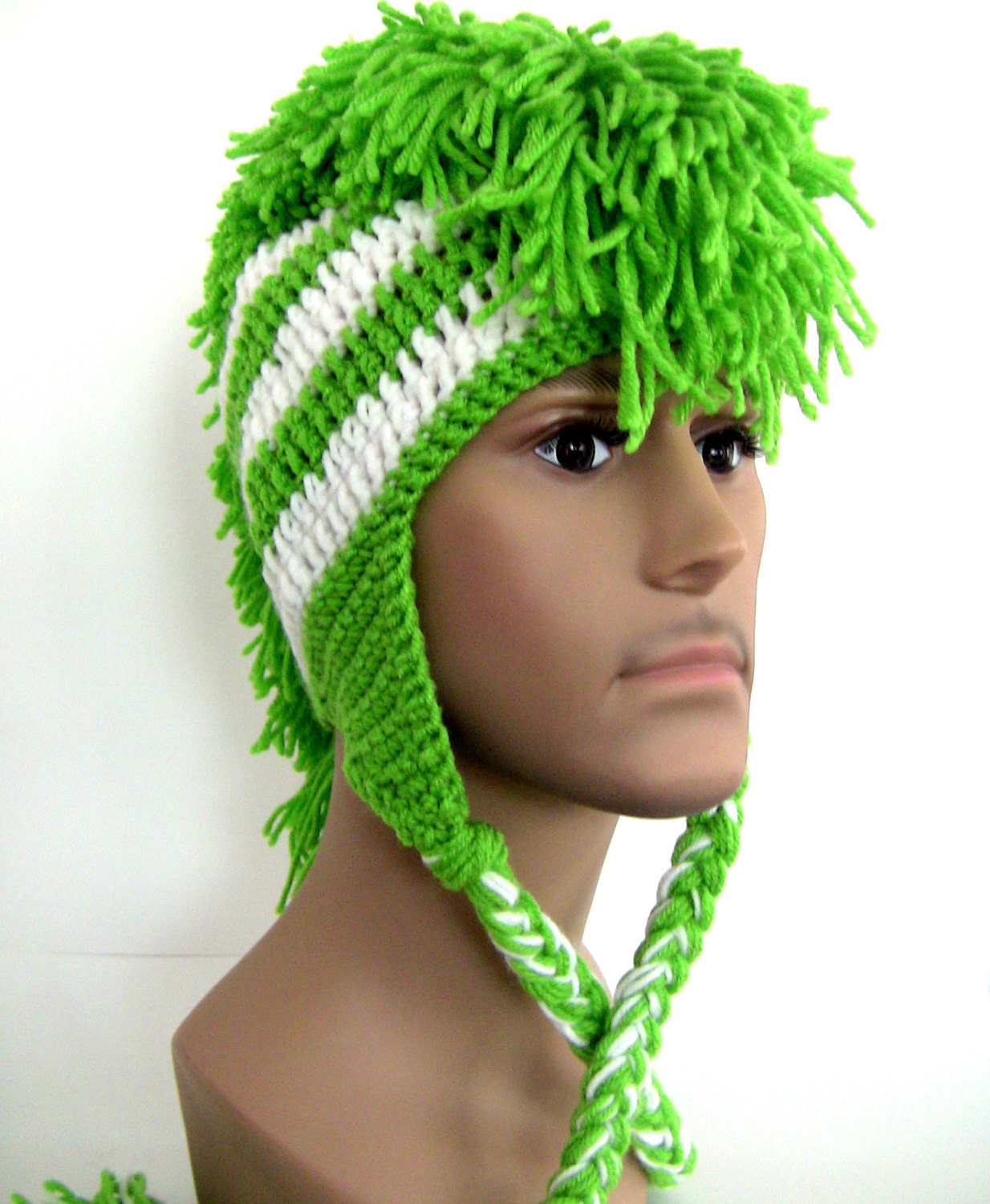 Crochet Mohawk : Mohawk Hat Crocheted Made to Order Lime by UnexpectedTreasure