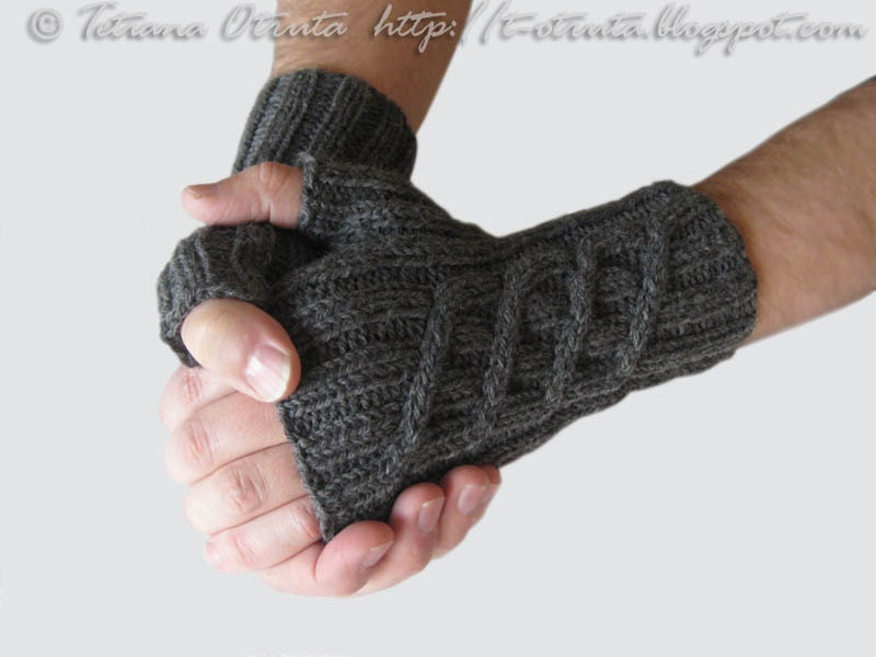 Mens Fingerless Gloves Knitting Pattern Free : Gray hand knit gloves gift for men unisex fingerless by Otruta