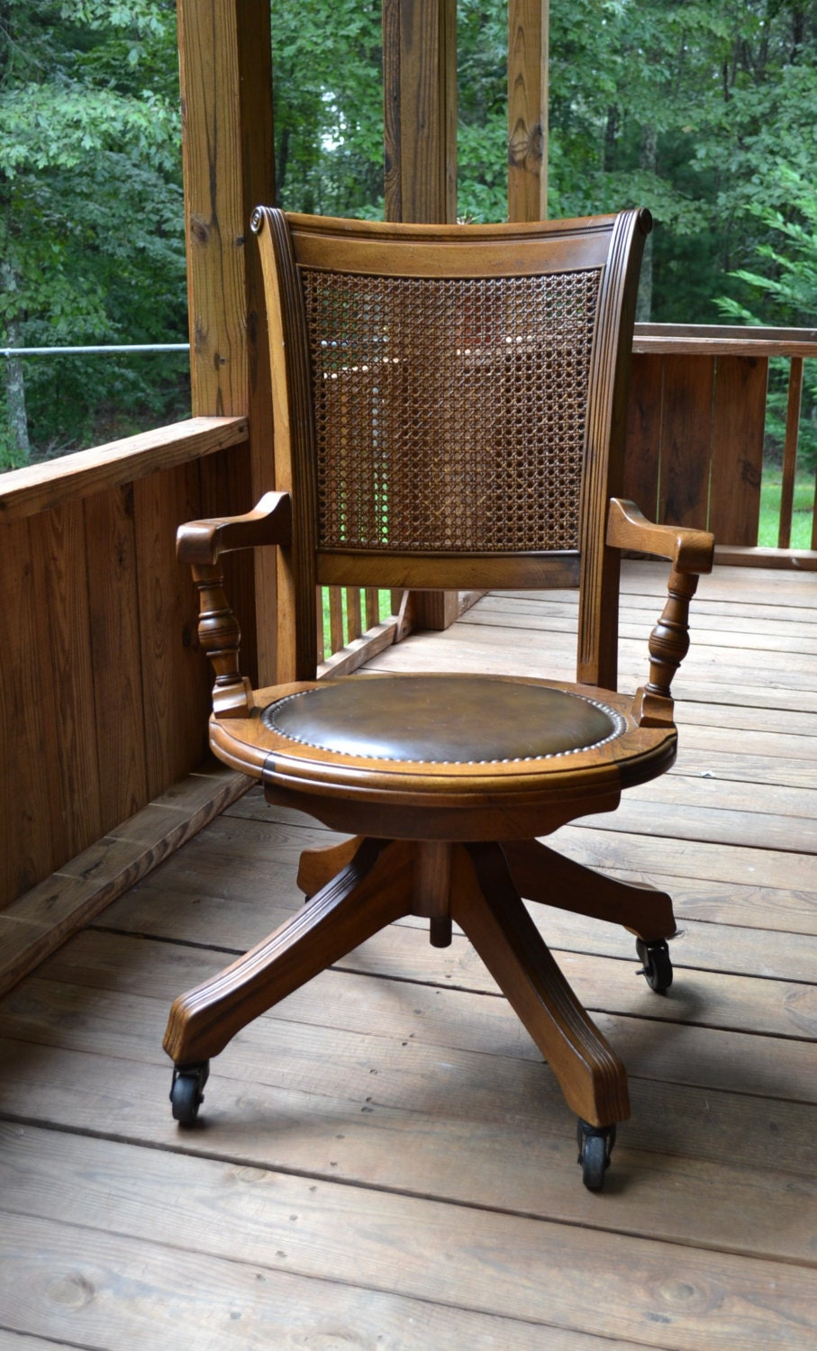 Vintage Wood Oak Office Chair Swivel Wheels Cane By