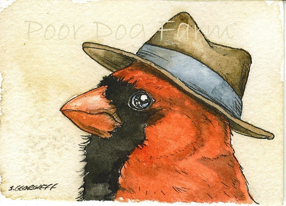 Cardinal with Hat - 5 x 7 print - poordogfarm
