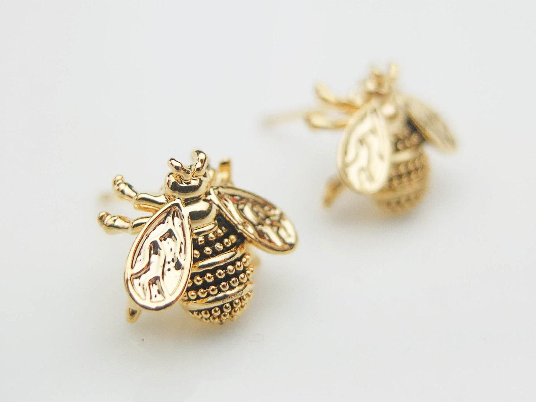 Gold Bug Earring Studs Gold Stud Earrings Cute By Seablueboutique ...