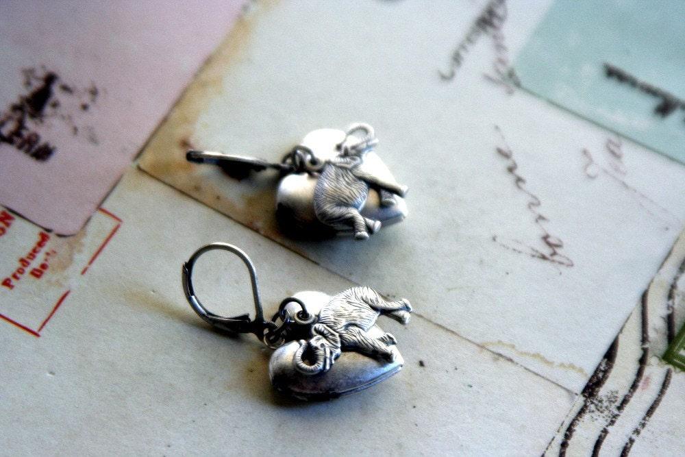 elephant. heart locket earrings. silver ox - babyjewlz