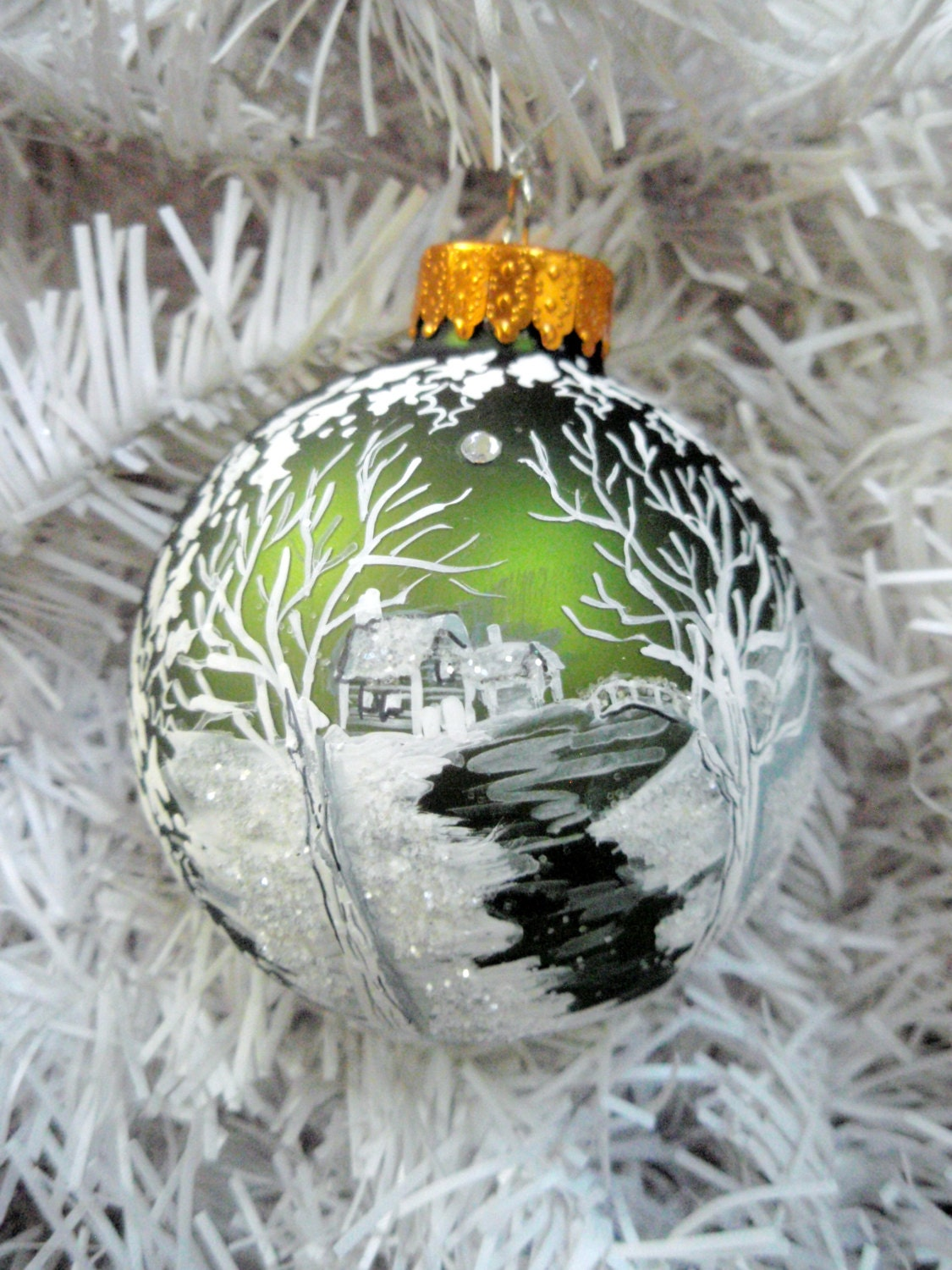 Personalized Painted Christmas Ball- Meandering Creek Snow Cabin by River, White Winter Landscape Handpainted Moss Green Glass Ball Ornament - PickleLilyDesign