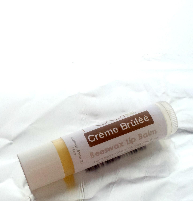 Beeswax Lip Balm Creme Brulee - Caramel Lip Balm Shea Butter Lip Balm Tube