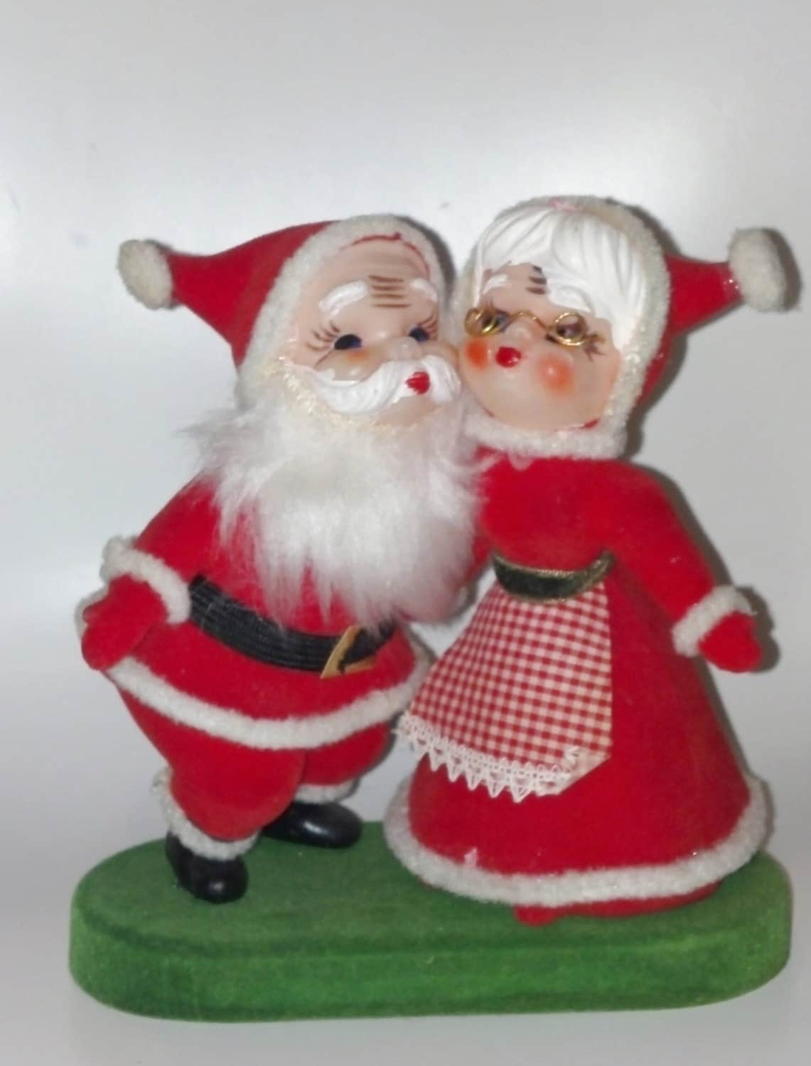 Vintage mr and mrs claus figurine s flocked by czamore