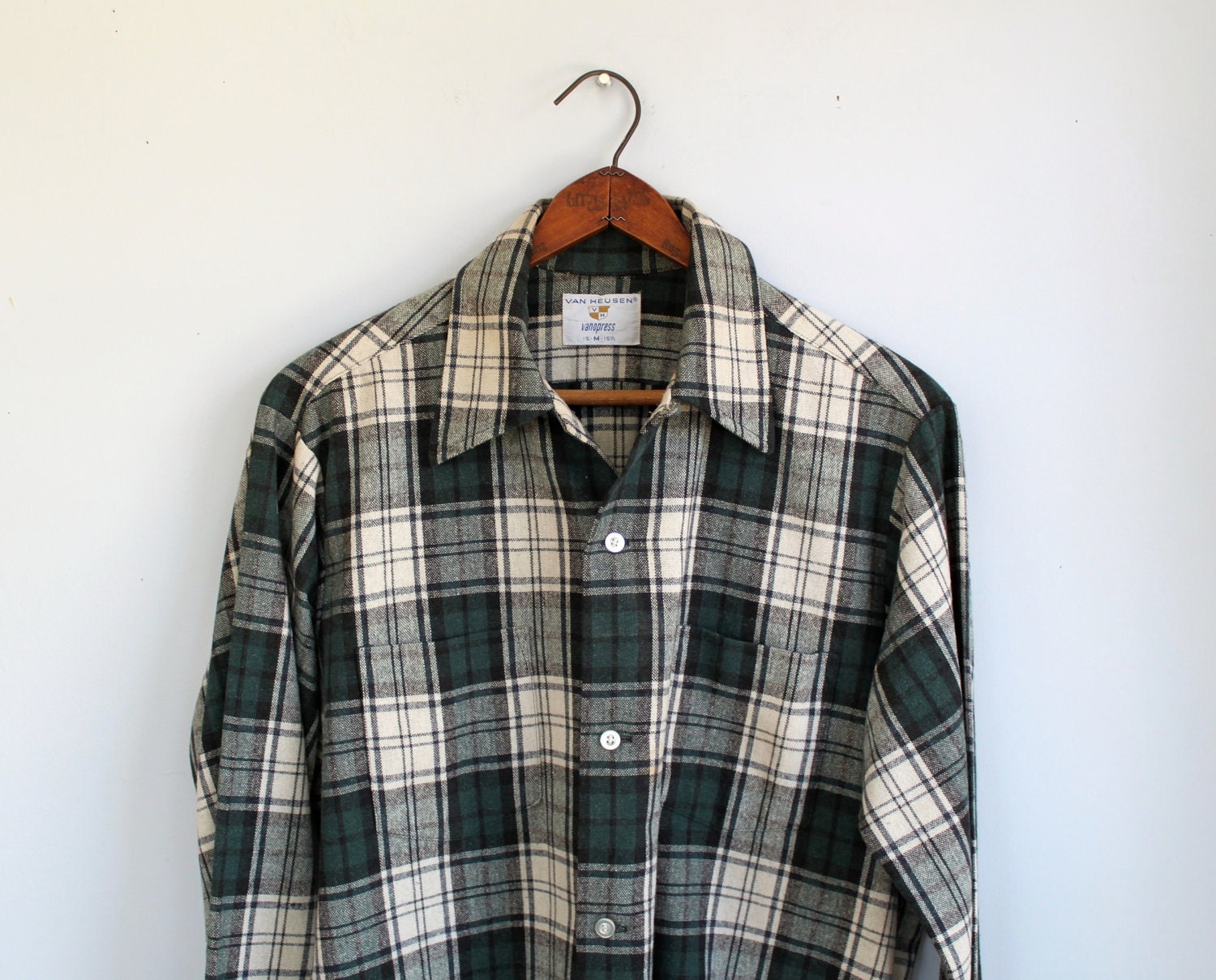 Vintage 1950s Plaid Wool Shirt Men 39 S By Luncheonettevintage