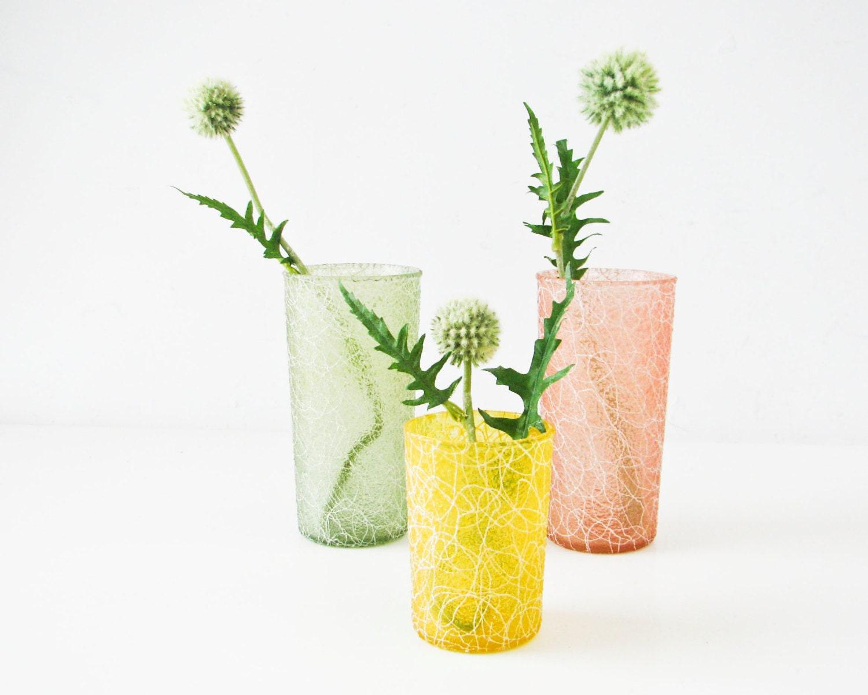 3 Vintage Drinking Glasses - 1950s - Pastel Vases - Spaghetti design - BeeJayKay