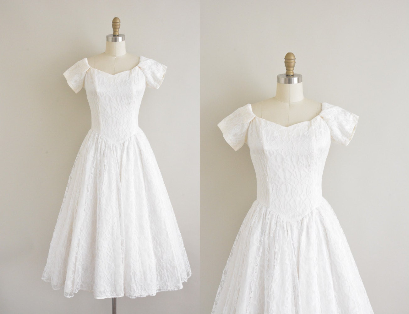 Vintage 50s wedding dress 50s tea length by for Etsy tea length wedding dress
