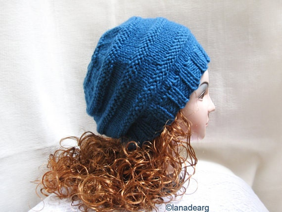 Beret Knitting Pattern Straight Needles : Knitting Pattern Hat Beret Slouchy PDF knit hat by lanadearg