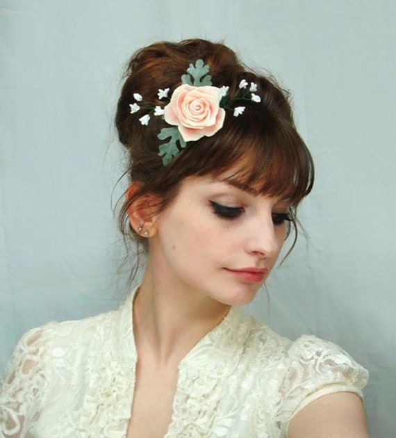 Baby S Breath In Hair: Hair Clip Rose Baby's Breath Dusty Miller Floral By