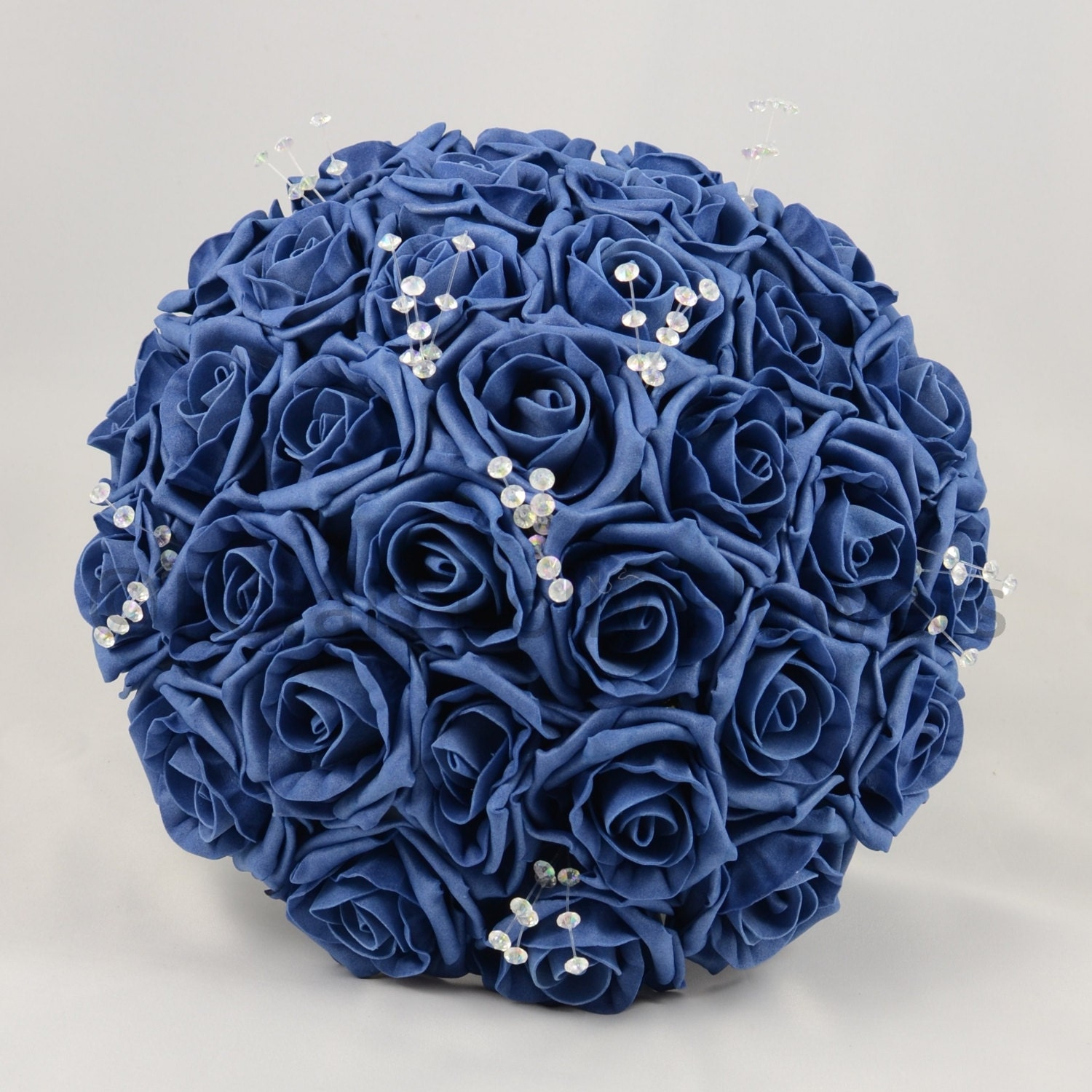 Artificial Wedding Flowers Navy Blue Brides Bouquet Posy