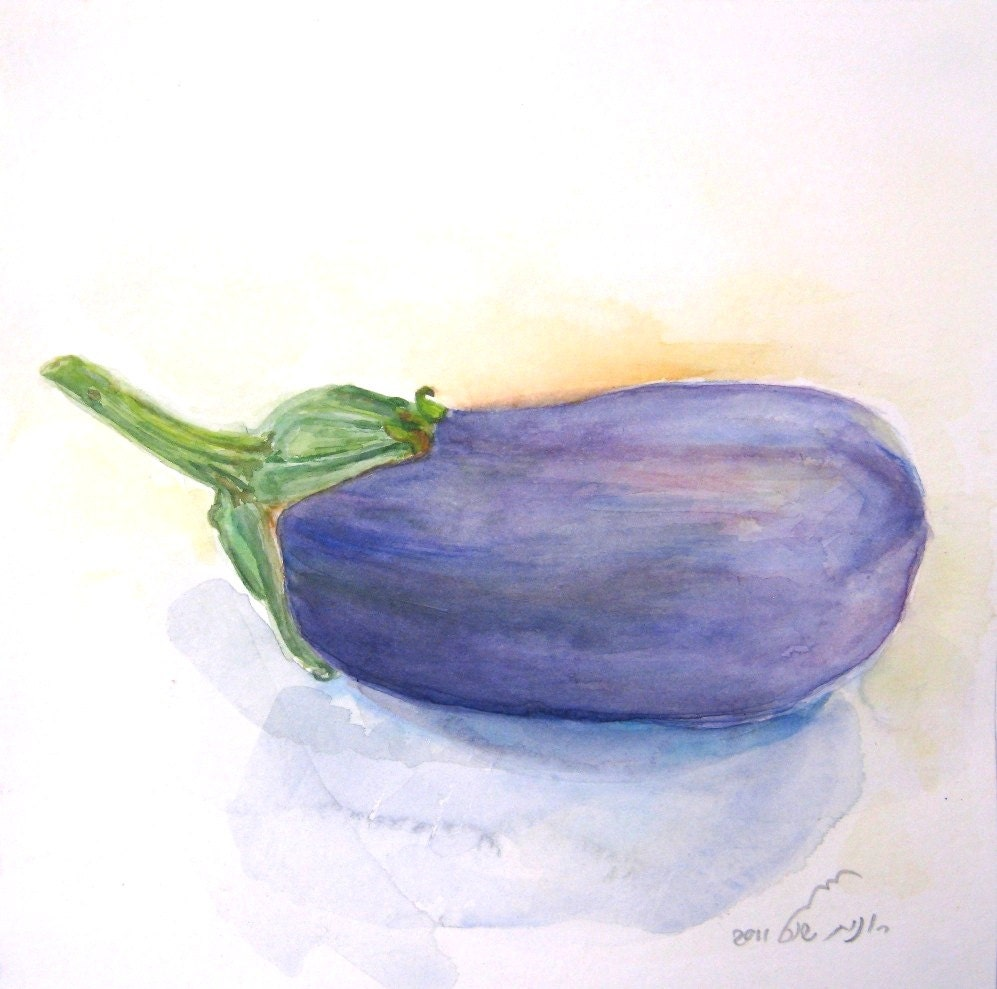 Purple Eggplant Aubergine Kitchen Wall Decor Poster: Purple Eggplant Still Life Watercolor Vegetable By