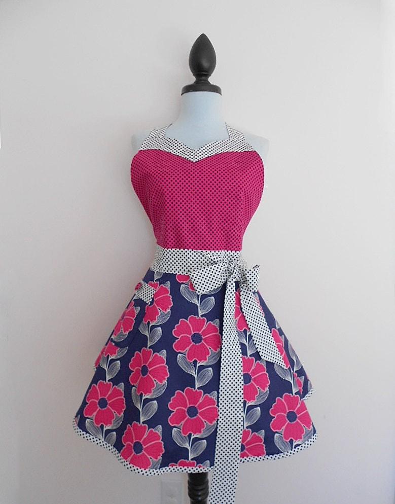 Handmade bonito e atrevida avental mulheres cozinha completa rosa e marinha florais e bolinhas
