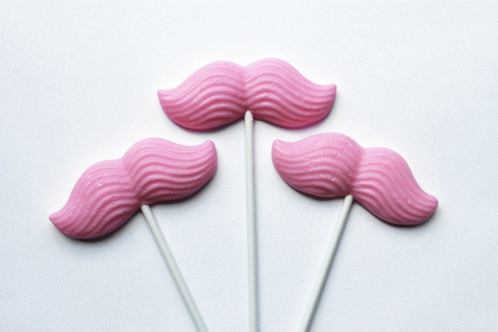 Pink bubble gum  Girls night out party theme Original mustache on a stick hard candy lollipops - 6 pc. - MADE TO ORDER - VintageConfections