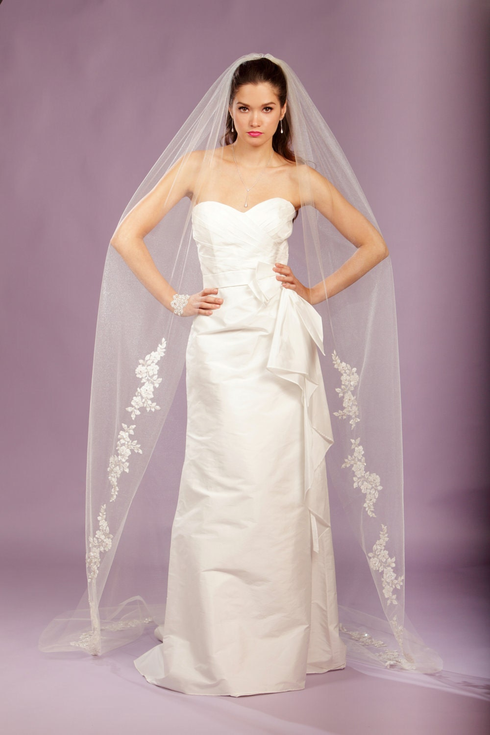 Wedding Veil -Cathedral Veil, FRENCH Appliques Adorned with Swarovski Crystals, Embroidery, and Sequins - made to order