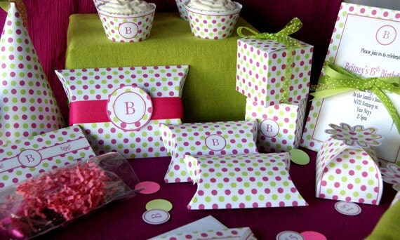 pink and green dots printable party diy party by. Black Bedroom Furniture Sets. Home Design Ideas