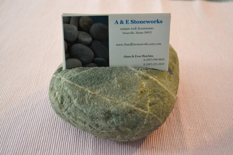 Beach Stone Business Card Holder - Maine Beach Stone - AandEStoneworks