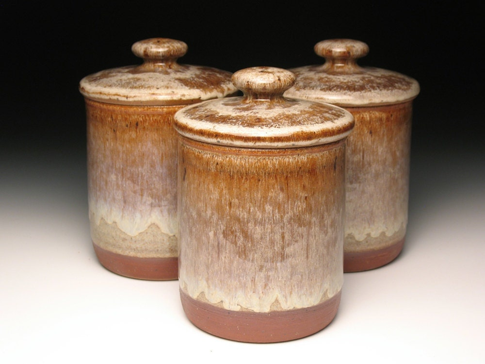kitchen canister set pottery by brentsmithpottery on etsy 3 piece crock canister set red wing stoneware amp pottery