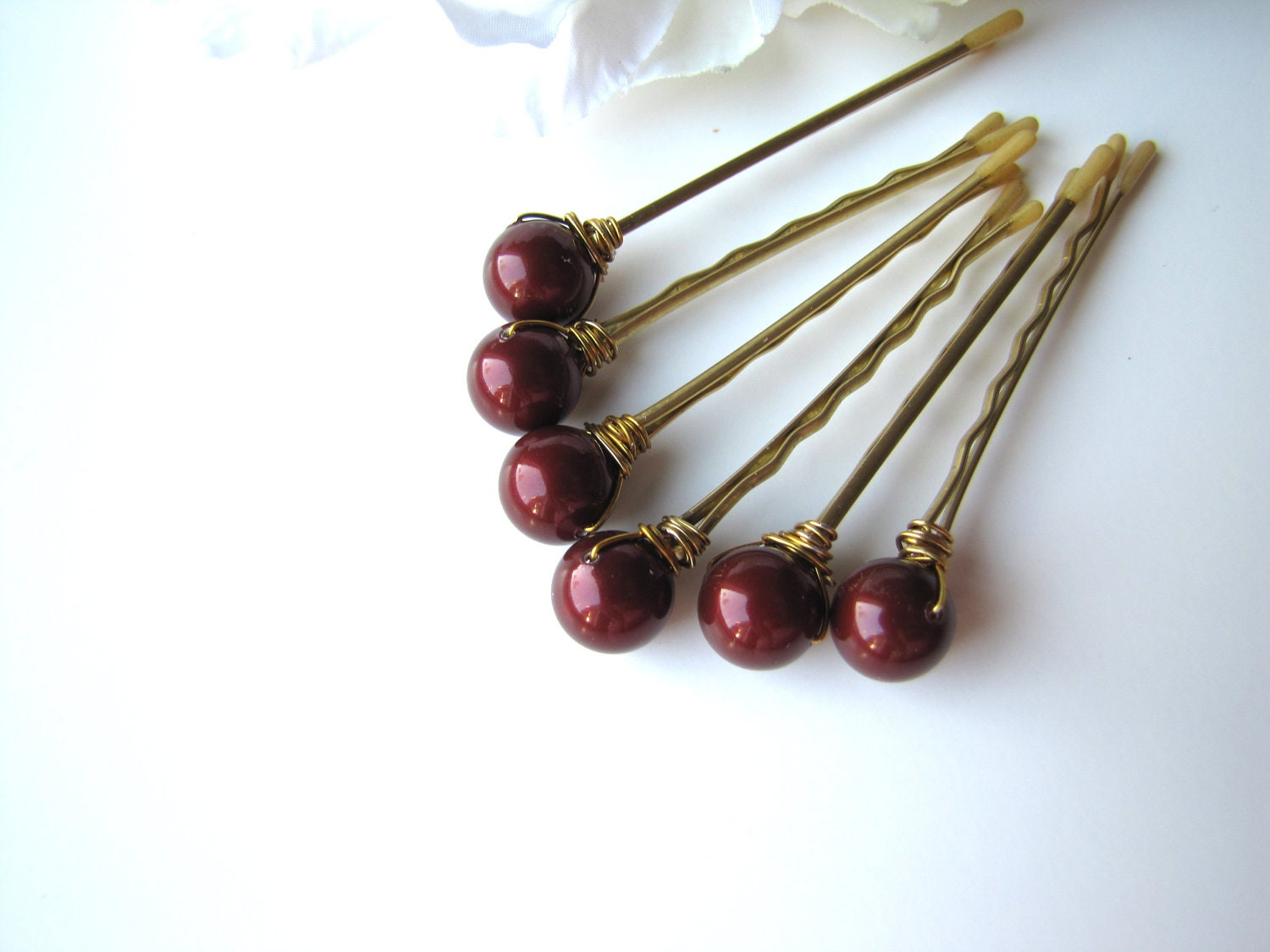 Oxblood Pearl Hair Pins, Deep Burgundy Red - BellaMiaDesign