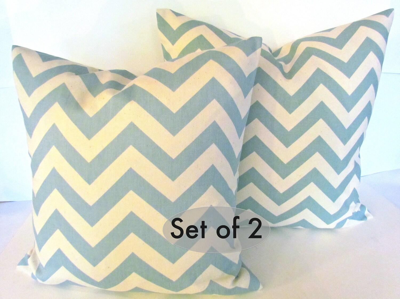 Items similar to THROW PILLOWS CHEVRON Spa Blue 18x18 Decorative Throw Pillows 18 x 18 Chevron ...