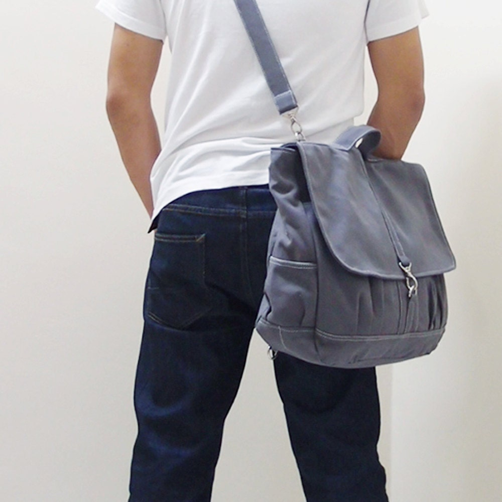 MAXX Canvas Back Pack in Gray - Backpack / Cross body Messenger / Shoulder bag