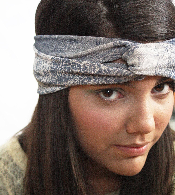 Turban Headband Headwrap in Blue Gray Grey Print
