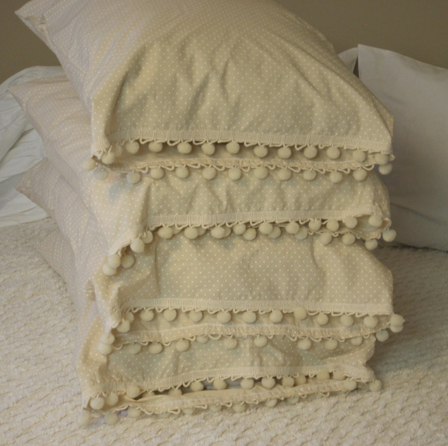 Shabby Chic Pillows On Etsy : Shabby Chic Pillow Case w/ ball trim by MyThymeCreations on Etsy