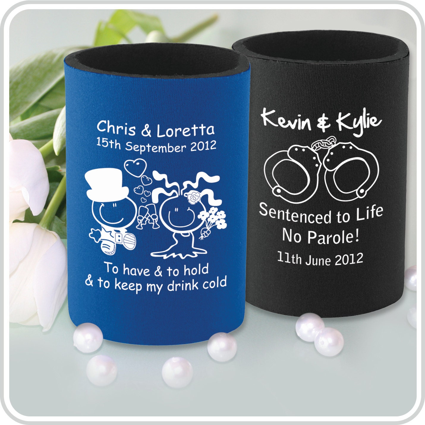 Wedding Gift Stubby Holders : 60 Printed Stubby Holders Coolers Wedding by PersonalisedFavours