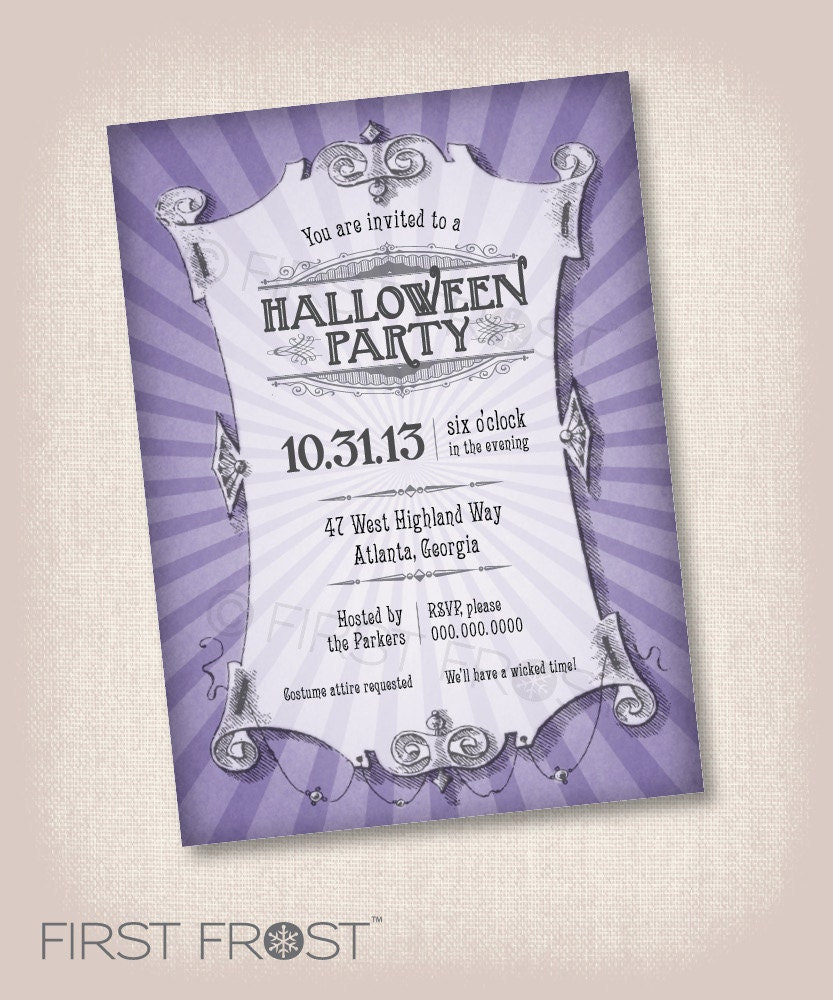 Vintage halloween printable invitation party by for Vintage halloween party invitations