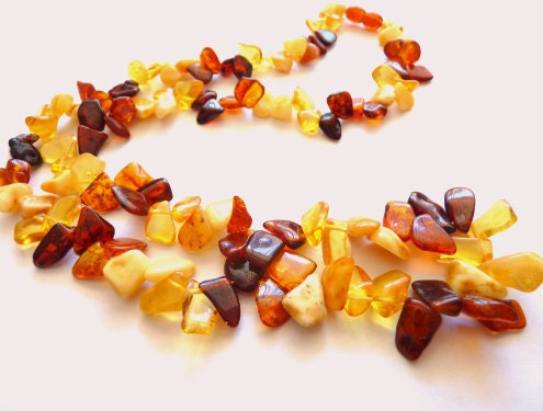 Baltic Amber Multicolor Beaded Necklace 27""