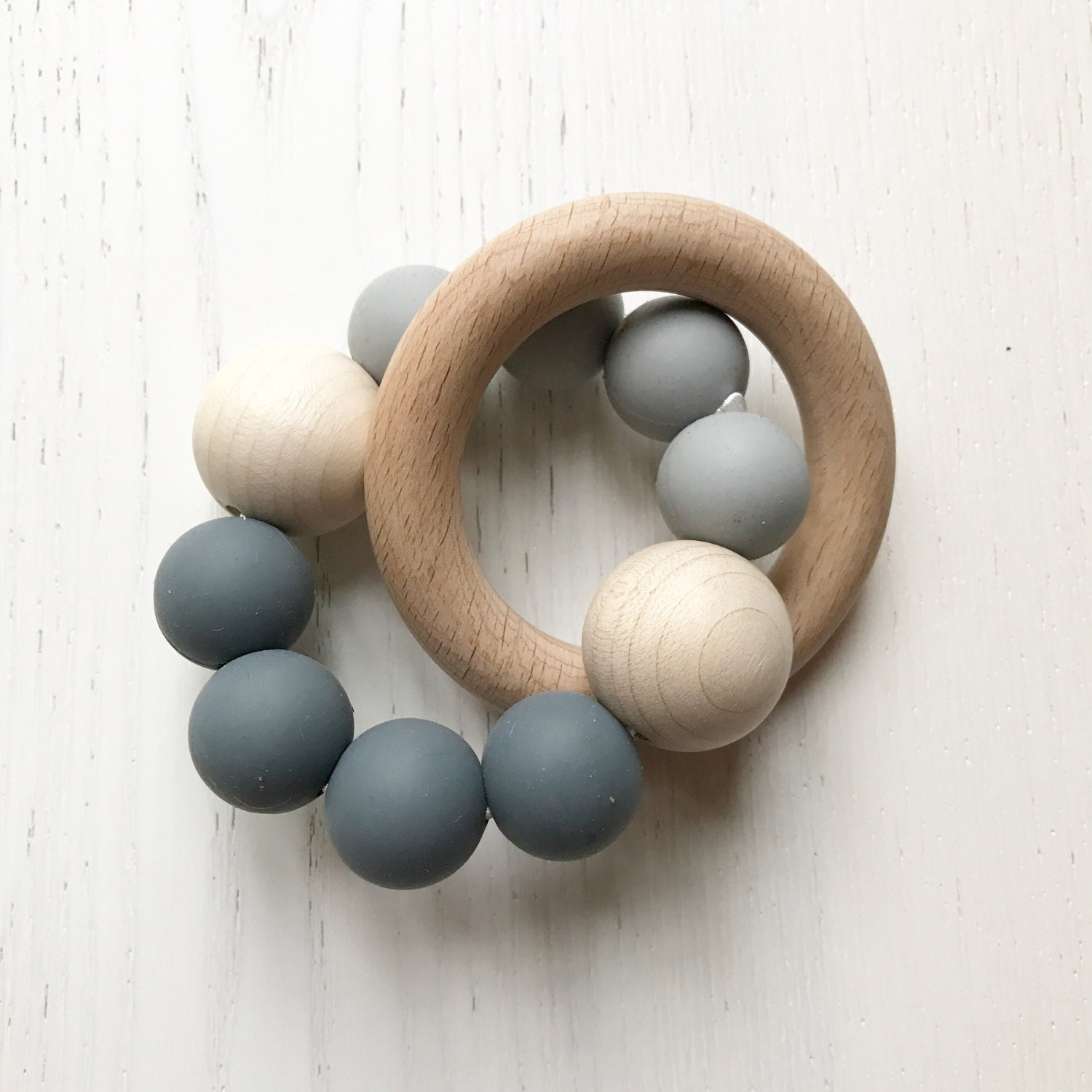 GREY ombre  BEECH  RATTLE Teether  Baby Gift  Teething Toy  Baby Shower
