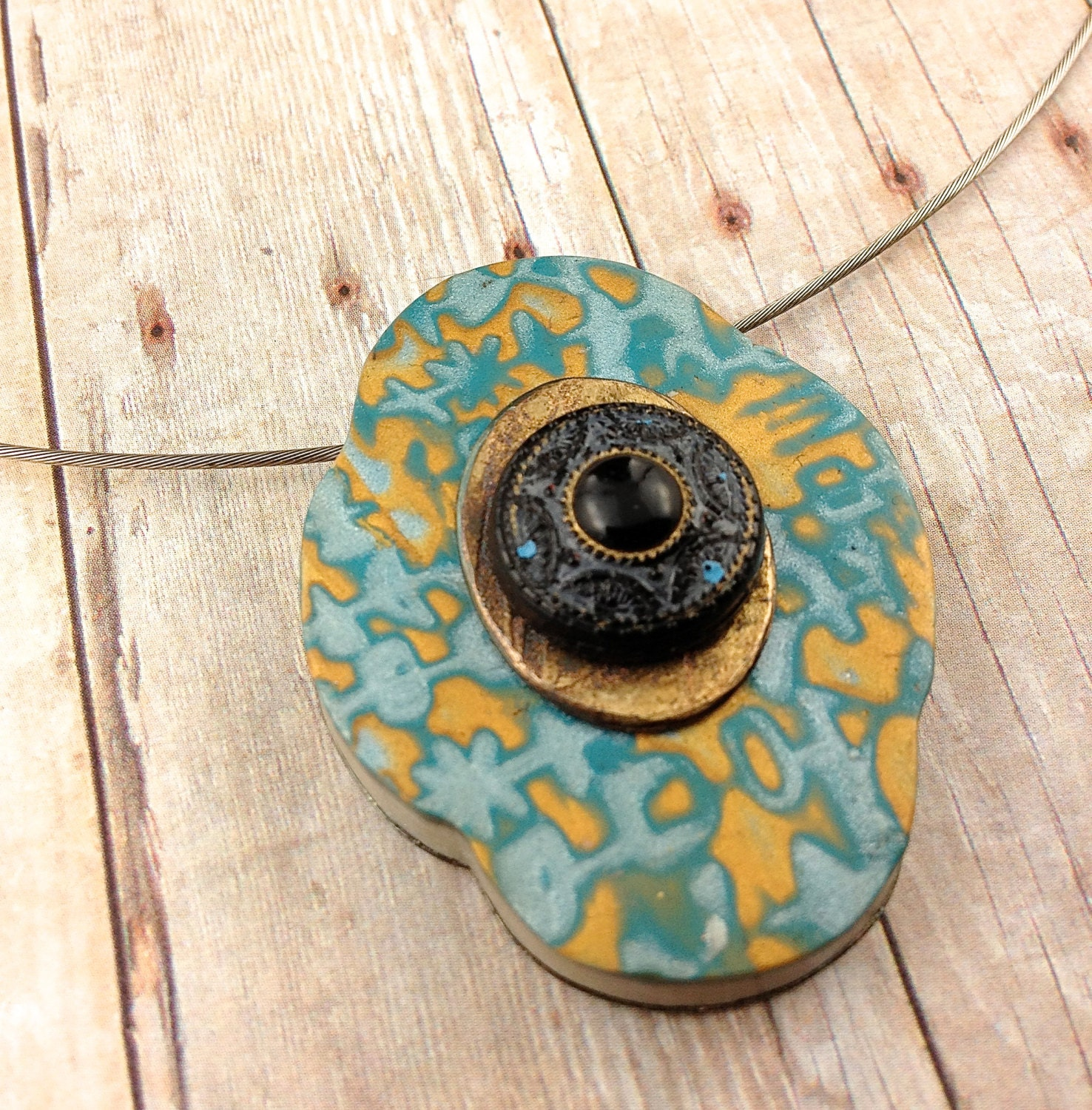 Polymer Clay Heart Necklace - Steampunk Patched Bronze Heart - silver patch. Fantas