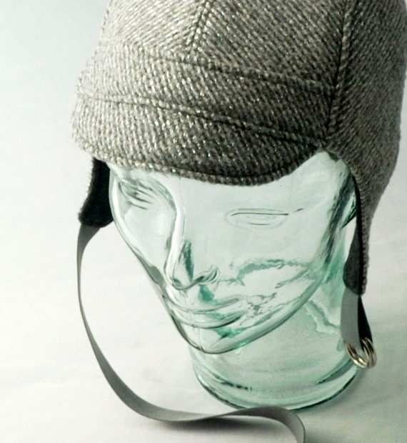 metallic silver wool aviator hat womens mens by rocksandsalt