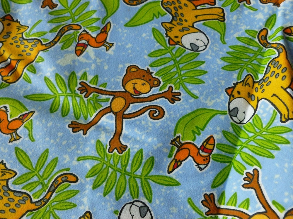 Fabric sale children 39 s jungle print cotton flannel by for Childrens jungle fabric