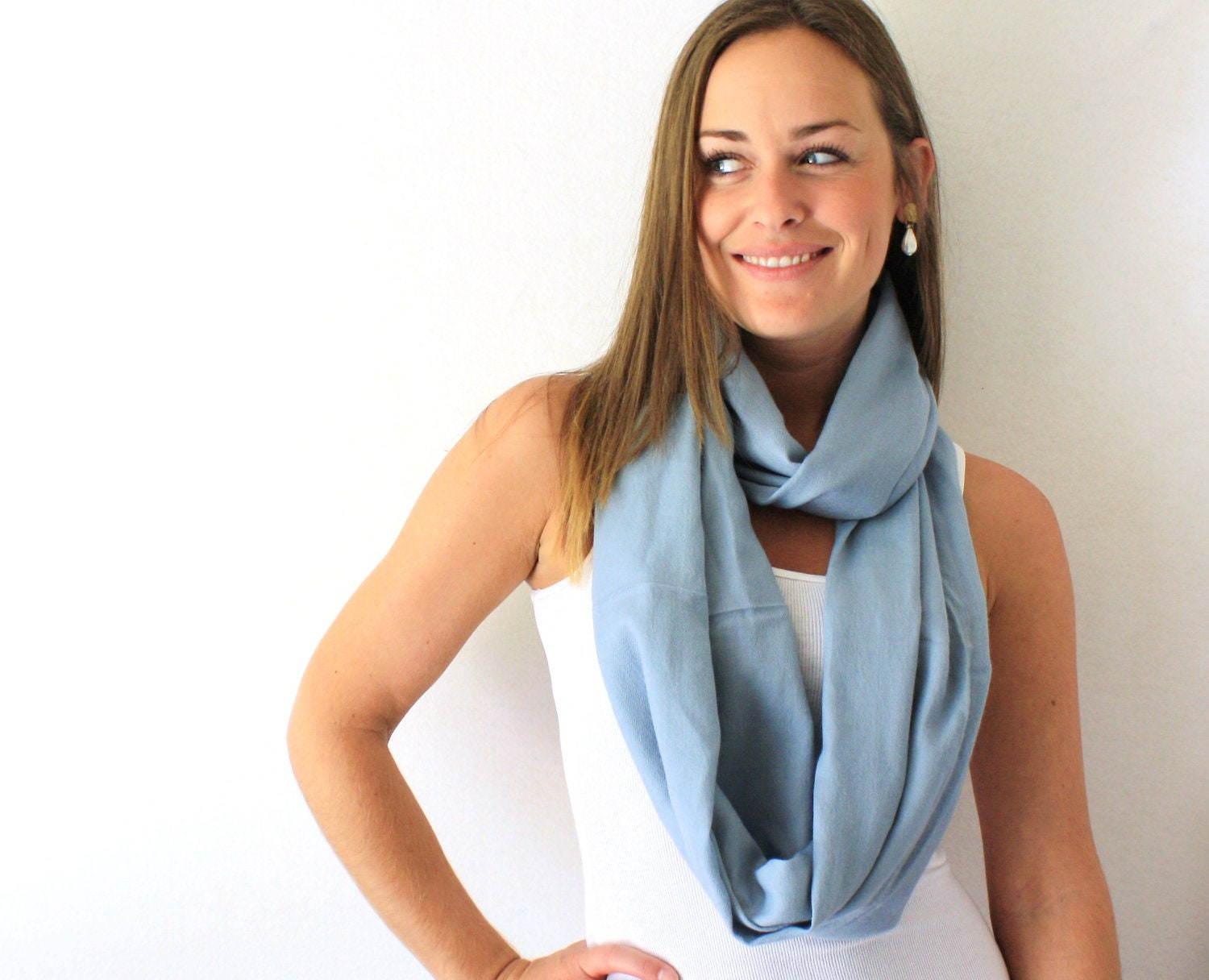 Up-cycled Grey Blue Circle Scarf - Wool Scarf - Fall Fashion - Infinity Scarf - Loop Scarf - TheSilkMoon