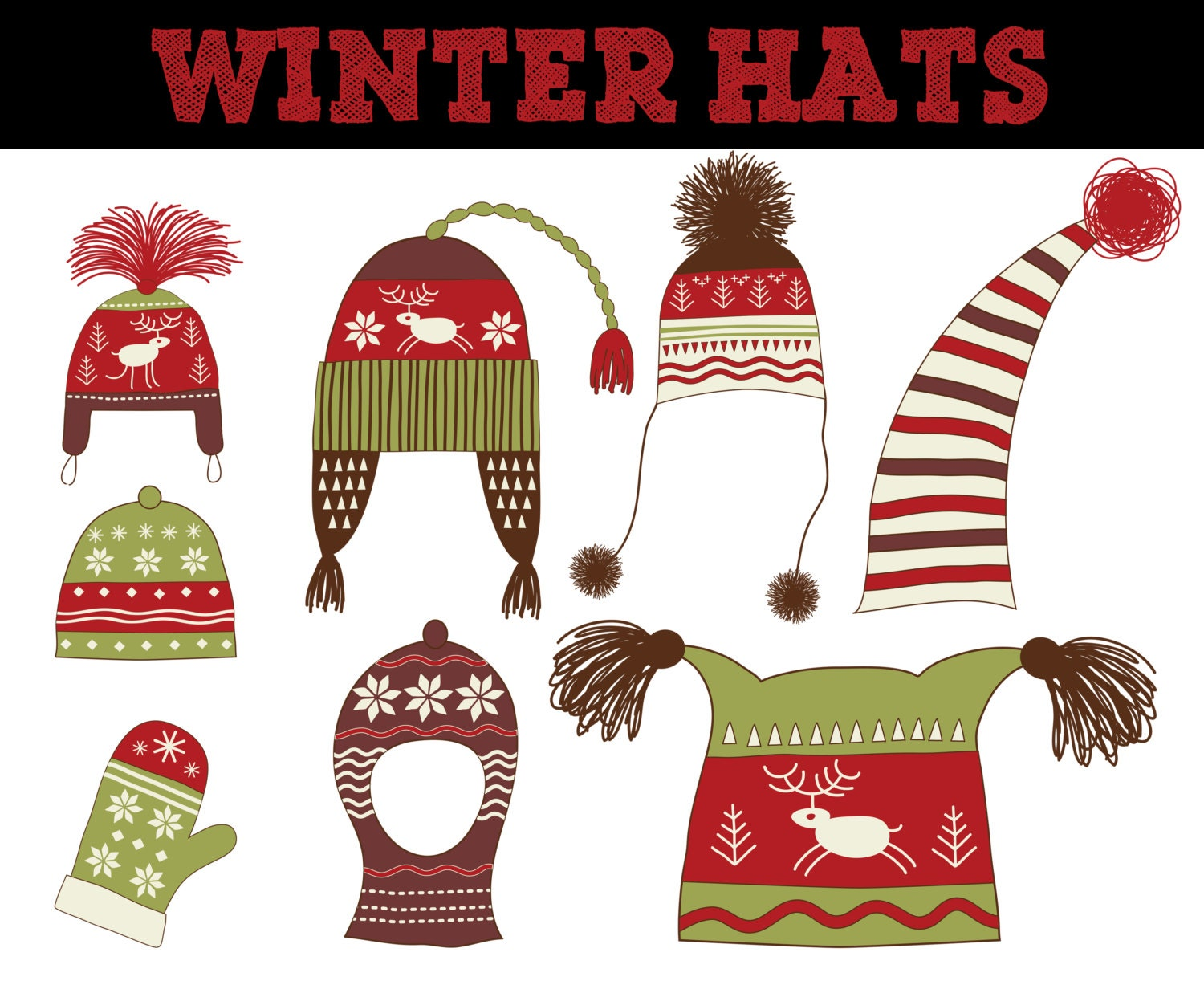 Knitting And Crocheting Clipart : Items similar to christmas knit hat clip art crochet